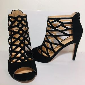 XOXO Black Cage Open Toe Heels Size 7m Shoes